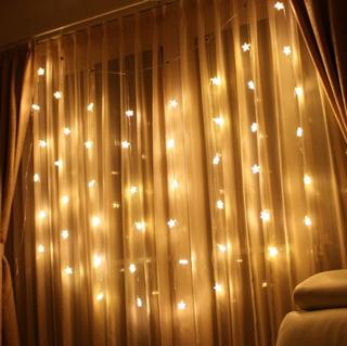 クリスマスイルミネーション LED インテリアイルミネーション カーテン 48球 スター LEDゴールド.png